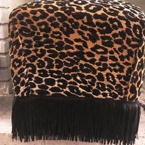 Cheetah Chenille Animal Print Black Fringe Stool
